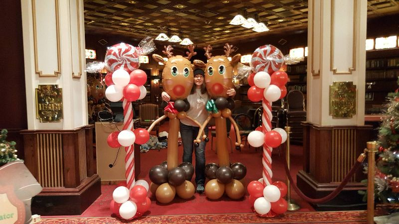 Reindeer and Candy Cane Pillars by Balloon Empire